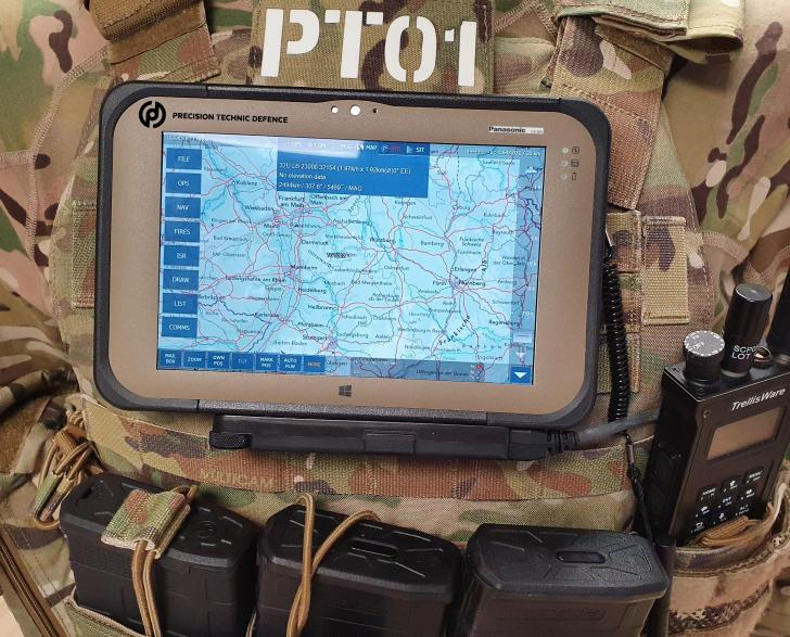 TOUGHBOOK M1 device mouted on a soldier's uniform as a wearable