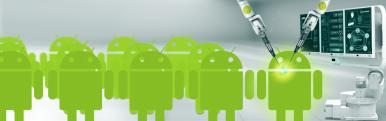 A group of Android robots